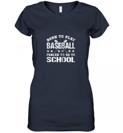 r6ln born to play baseball forced to go to school women v neck t shirt 39 front navy