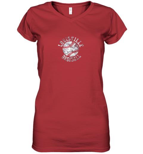 gtnk vintage louisville baseball women v neck t shirt 39 front red