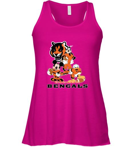 8ube mickey donald goofy the three cincinnati bengals football shirts flowy tank 32 front neon pink
