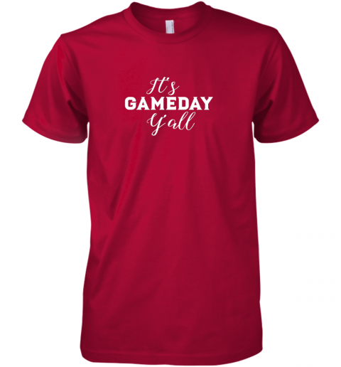 wheq it39 s game day y39 all football baseball basketball premium guys tee 5 front red