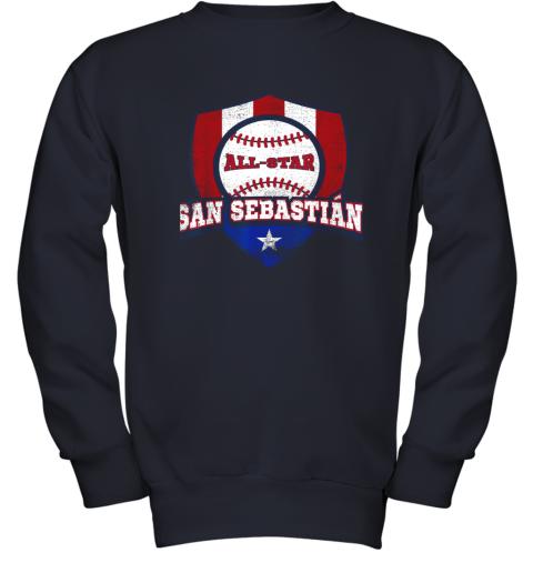 o6tm san sebastian puerto rico puerto rican pr baseball youth sweatshirt 47 front navy