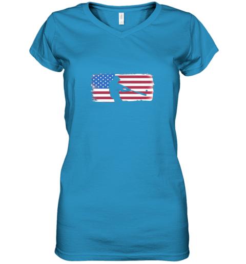 ysvs usa american flag baseball player perfect gift women v neck t shirt 39 front sapphire