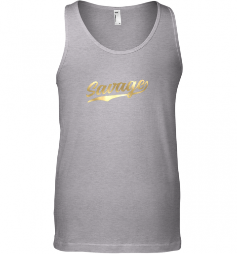 hg7b savage shirt retro 1970s baseball script font unisex tank 17 front sport grey