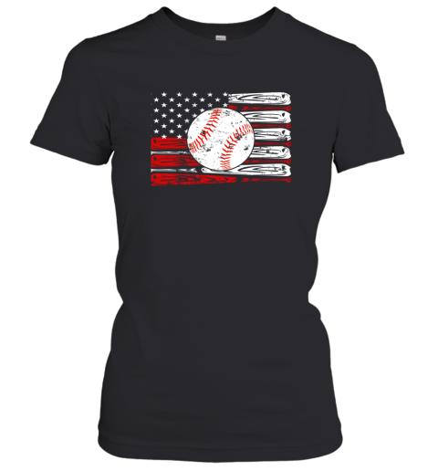 Vintage Baseball American Flag Shirt 4th Of July Gifts Women's T-Shirt