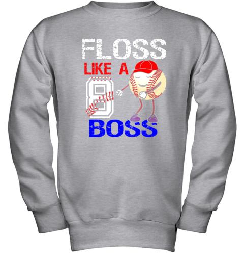 ovpk kids 8 year old 8th birthday floss like a boss baseball youth sweatshirt 47 front sport grey
