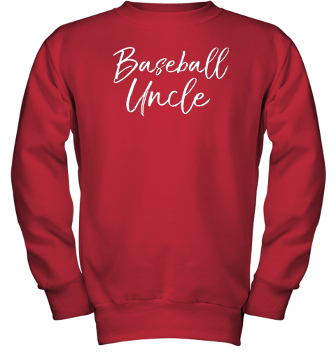 kyqt baseball uncle shirt for men cool baseball uncle youth sweatshirt 47 front red