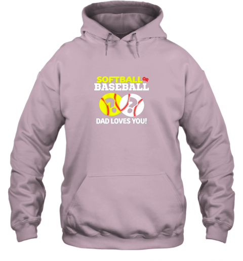 4j40 softball or baseball dad loves you gender reveal hoodie 23 front light pink