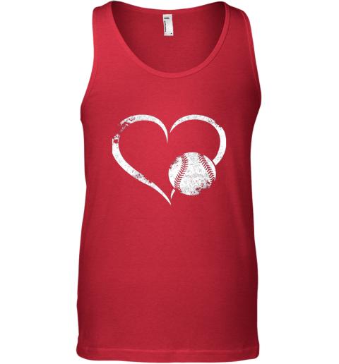 fmrg i love baseballl funny baseball lover heartbeat unisex tank 17 front red