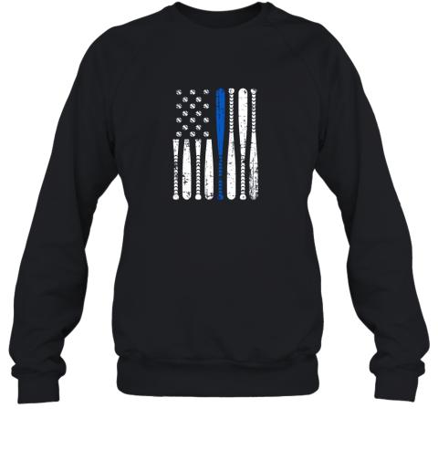 Thin Blue Line LEO USA Flag Police Support Baseball Bat Sweatshirt