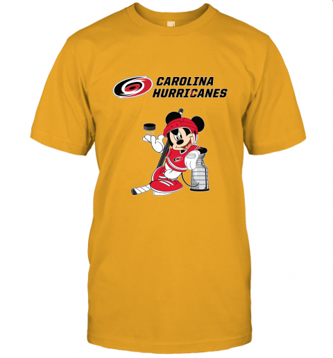 lo8o mickey carolina hurricanes with the stanley cup hockey nhl jersey t shirt 60 front gold