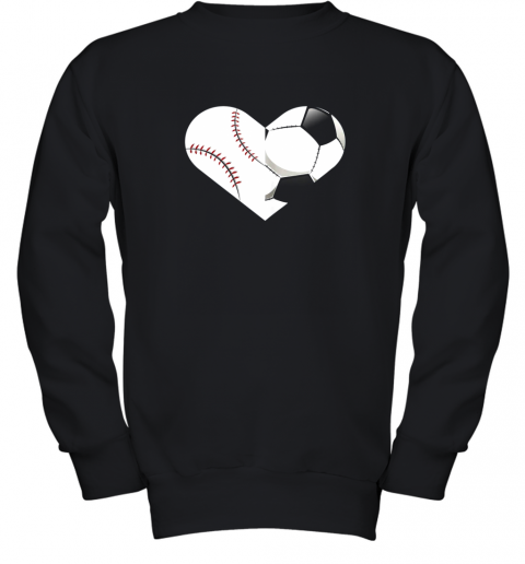 Soccer Baseball Heart Sports Tee, Baseball, Soccer Youth Sweatshirt