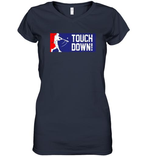 nuyd touchdown baseball funny family gift base ball women v neck t shirt 39 front navy