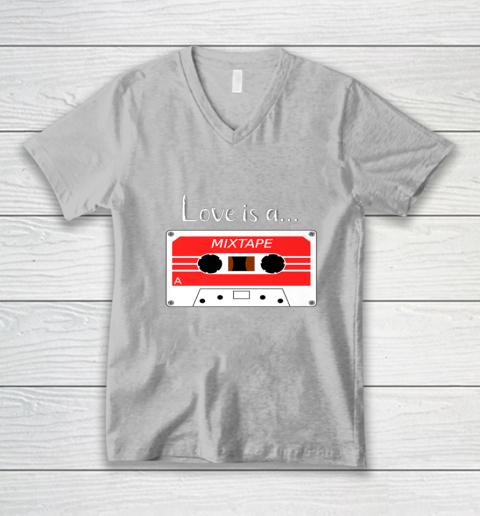 Love is a MixTape Retro Old School Valentine V-Neck T-Shirt 3