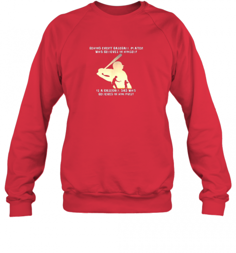ptdg mens behind every baseball player is a dad that believes sweatshirt 35 front red
