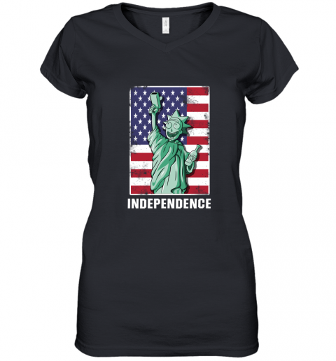 bceu rick and morty statue of liberty independence day 4th of july shirts women v neck t shirt 39 front black