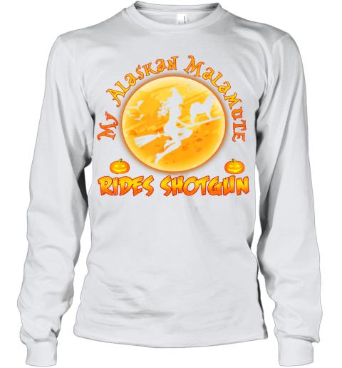 My Alaskan Malamute Rides Shotgun Halloween Costume Dog Youth Long Sleeve