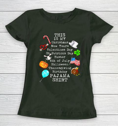 Funny Christmas New Year Birthday Valentine 10 holidays in 1 Women's T-Shirt 4
