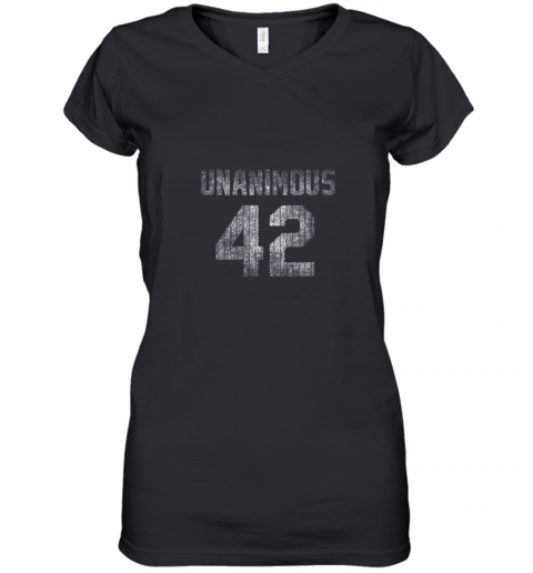 New York 42 Baseball Unanimous HOF Distressed Mo Hero Women's V-Neck T-Shirt