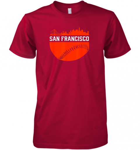 y3nv san francisco baseball vintage sf the city skyline gift premium guys tee 5 front red