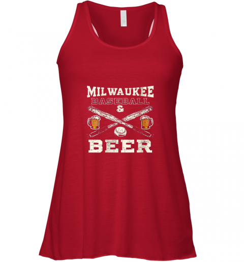 9sms love milwaukee love baseball flowy tank 32 front red