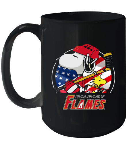 Calgary Flames   Snoopy And Woodstock NHL Ceramic Mug 15oz