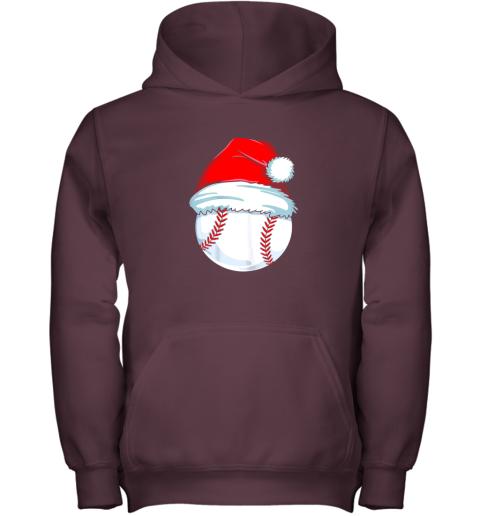 e3vp christmas baseball shirt for kids men ball santa pajama youth hoodie 43 front maroon