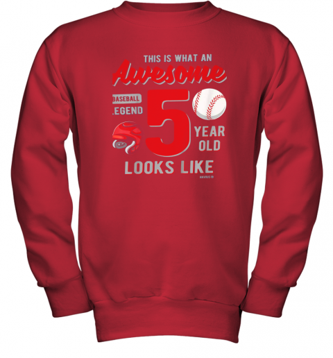fswj kids 5th birthday gift awesome 5 year old baseball legend youth sweatshirt 47 front red