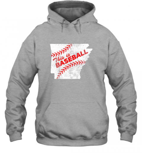 axqo this is baseball arkansas with red laces hoodie 23 front sport grey