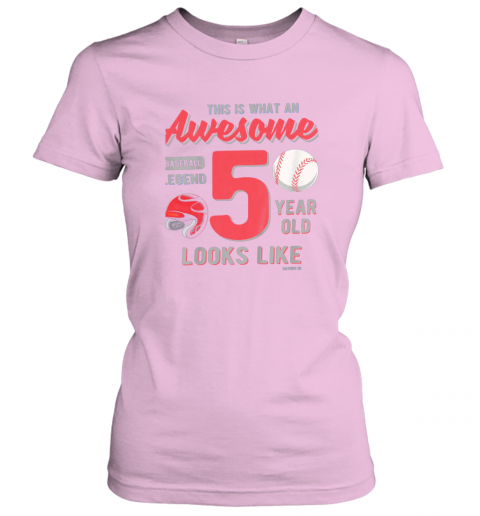 tqow kids 5th birthday gift awesome 5 year old baseball legend ladies t shirt 20 front light pink