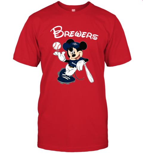 Baseball Mickey Team Milwaukee Brewers Unisex Jersey Tee