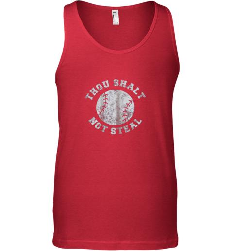 4zlt thou shalt not stealfunny baseball saying unisex tank 17 front red