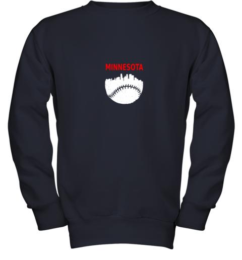 to44 retro minnesota baseball minneapolis cityscape vintage shirt youth sweatshirt 47 front navy
