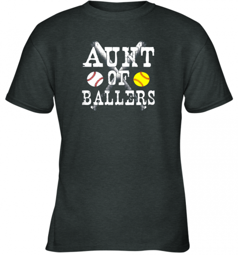 bp54 vintage aunt of ballers shirt funny baseball softball love youth t shirt 26 front dark heather