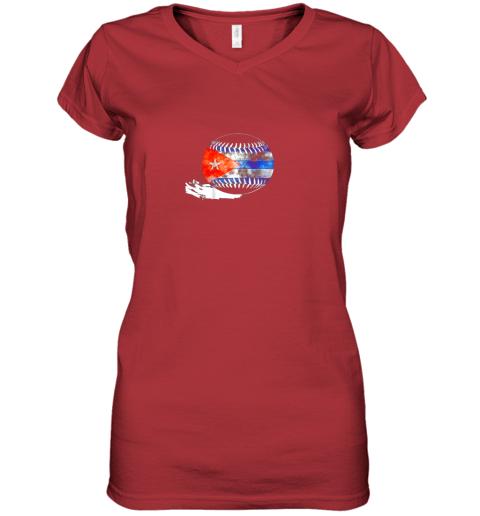 o9xf vintage baseball cuba flag shirt cuban pride women v neck t shirt 39 front red