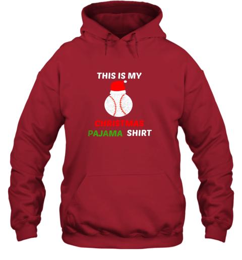 uzhf this is my christmas pajama shirtgift for baseball lover hoodie 23 front red