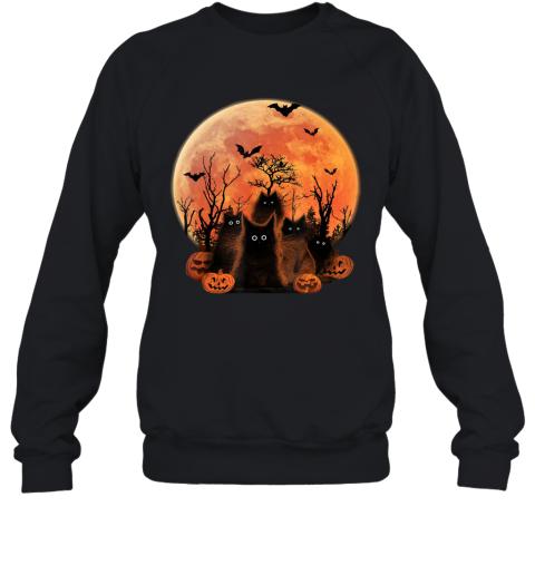 Scary Halloween Black Cats and Moon bats pumpkins Costume Sweatshirt