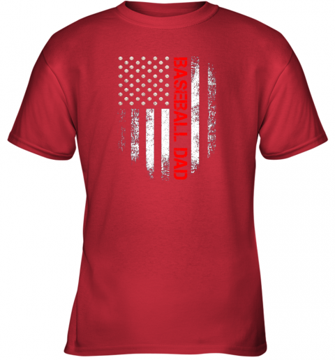 geol vintage usa american flag proud baseball dad player youth t shirt 26 front red
