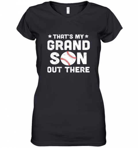 Grandma That's My Grandson Out There Baseball Women's V-Neck T-Shirt