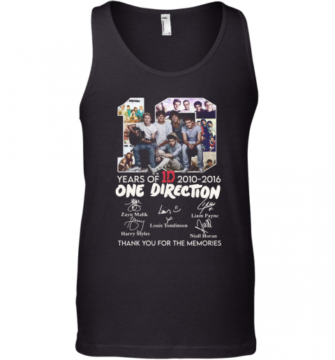 10 Years Of 1D 2010 2016 One Direction Thank You For The Memories Signatures Tank Top