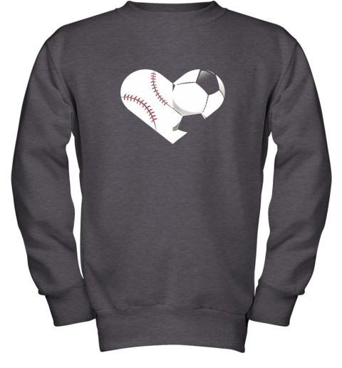 mvfz soccer baseball heart sports tee baseball soccer youth sweatshirt 47 front dark heather