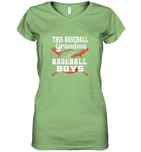 jpjj this baseball grandma loves her baseball boys women v neck t shirt 39 front lime