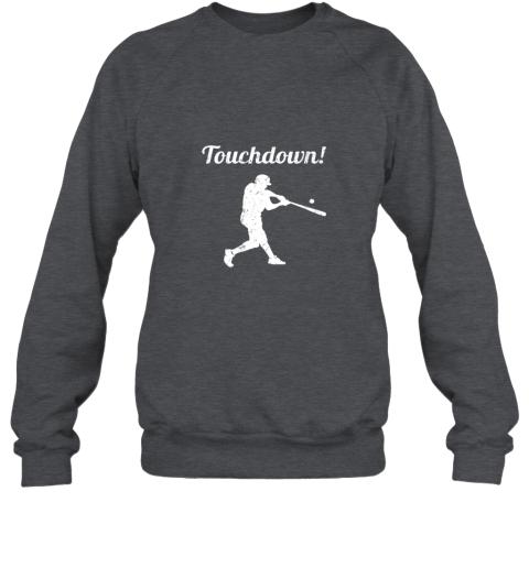 zmw1 touchdown funny baseball sweatshirt 35 front dark heather