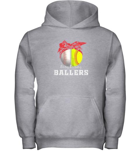 s41x busy raising ballers softball baseball shirt baseball mom youth hoodie 43 front sport grey