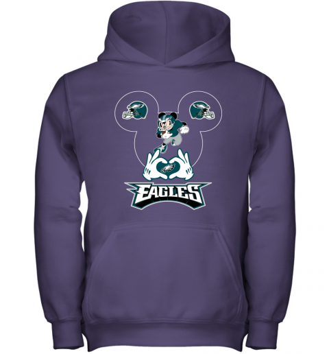 wom3 i love the eagles mickey mouse philadelphia eagles youth hoodie 43 front purple