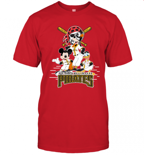 knxo pittsburgh pirates mickey donald and goofy baseball jersey t shirt 60 front red