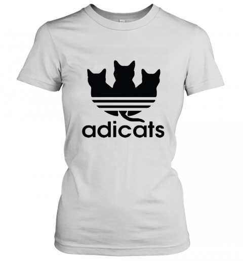 Adicats Three Black Cats Adidas Logo Mashup Women's T-Shirt