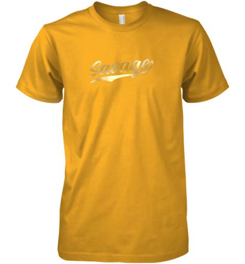 xfmq savage shirt retro 1970s baseball script font premium guys tee 5 front gold