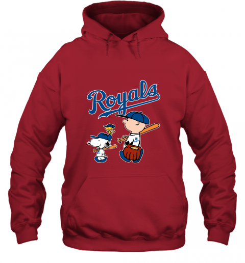 puel kansas city royalslets play baseball together snoopy mlb shirt hoodie 23 front red