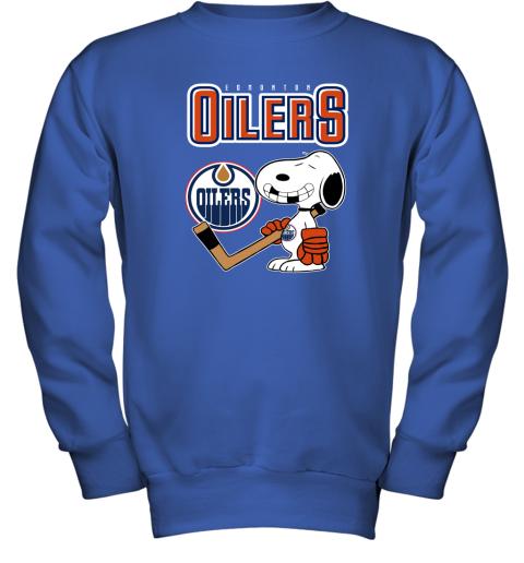 e2k4 edmonton oilers ice hockey broken teeth snoopy nhl shirt youth sweatshirt 47 front royal