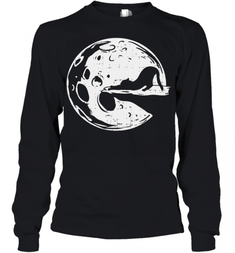 Yoga Cat Halloween Shirt Eclipse Full Moon Costume Youth Long Sleeve